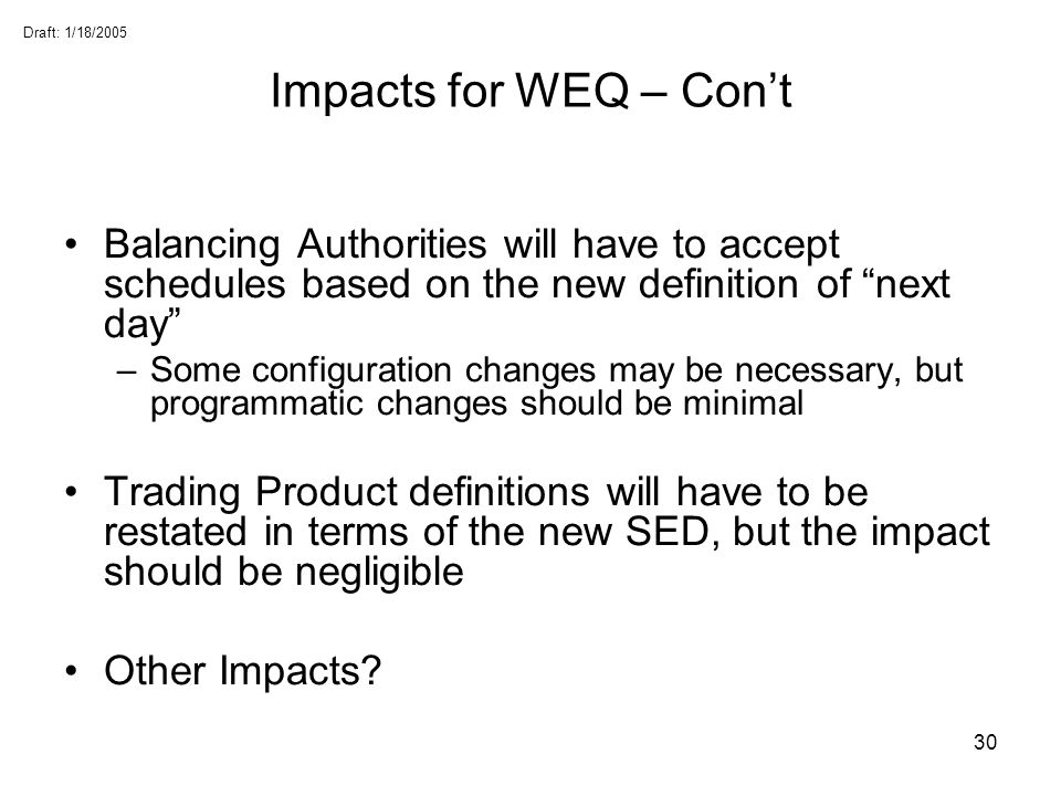 Impacts for WEQ – Con't Balancing Authorities will have to accept schedules based on the new definition of next day