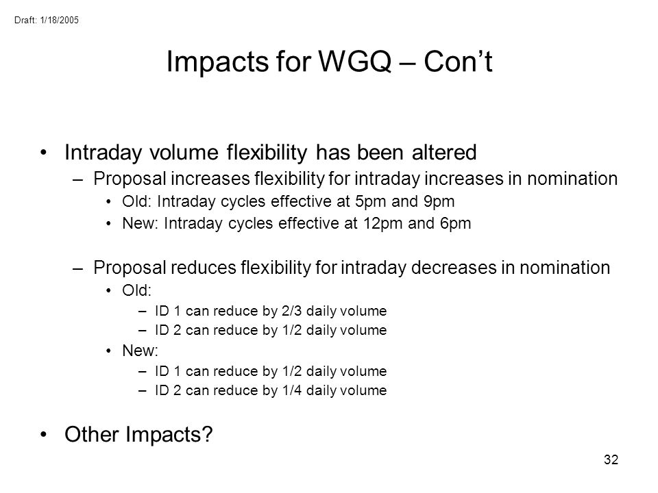 Impacts for WGQ – Con't Intraday volume flexibility has been altered