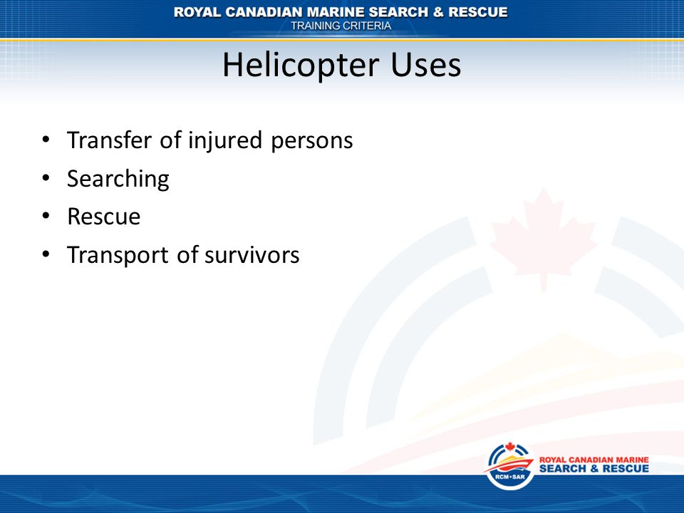 Helicopter Uses Transfer of injured persons Searching Rescue