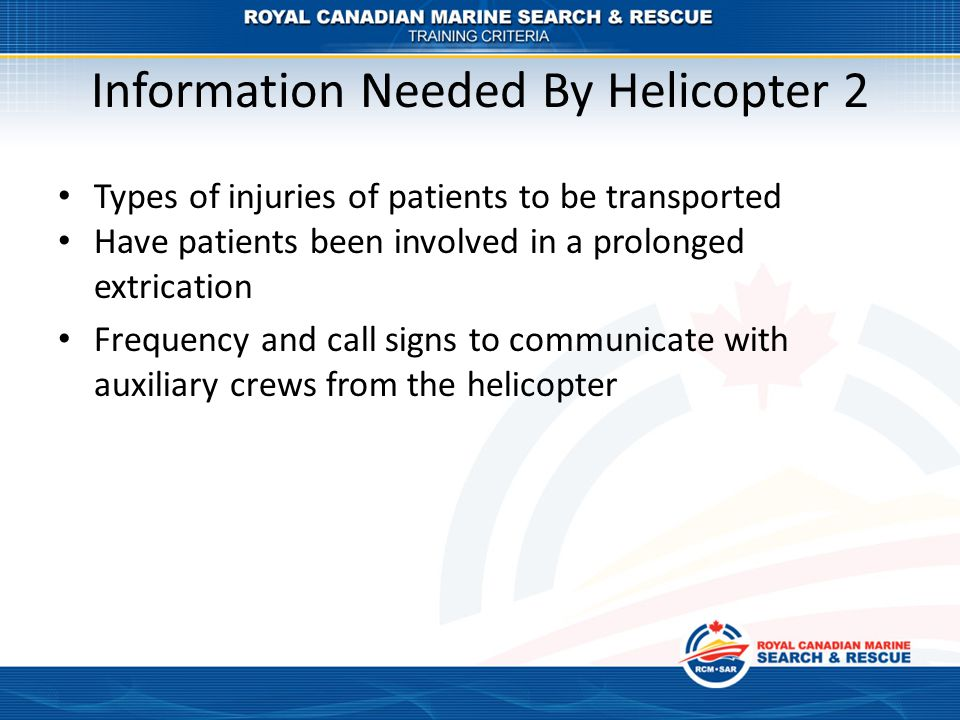 Information Needed By Helicopter 2