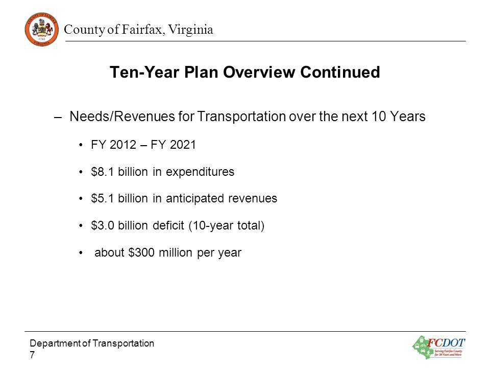 Ten-Year Plan Overview Continued