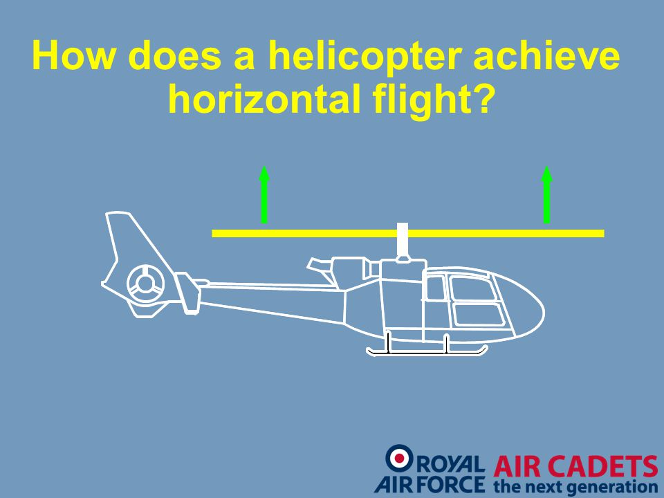 How does a helicopter achieve horizontal flight