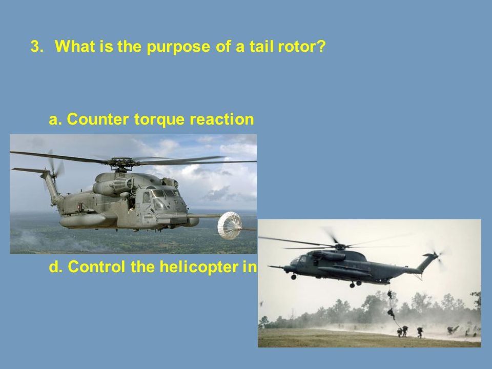 What is the purpose of a tail rotor