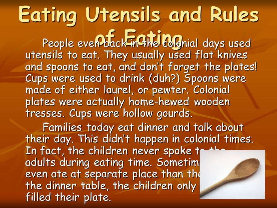 Eating Utensils and Rules of Eating
