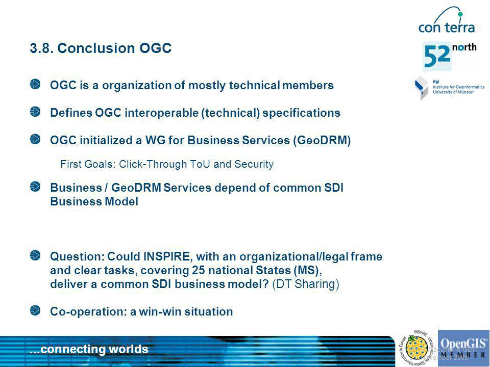 3.8. Conclusion OGC OGC is a organization of mostly technical members