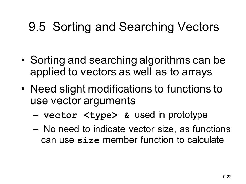 9.5 Sorting and Searching Vectors