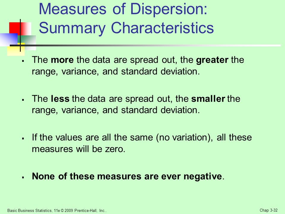 Measures of Dispersion: Summary Characteristics