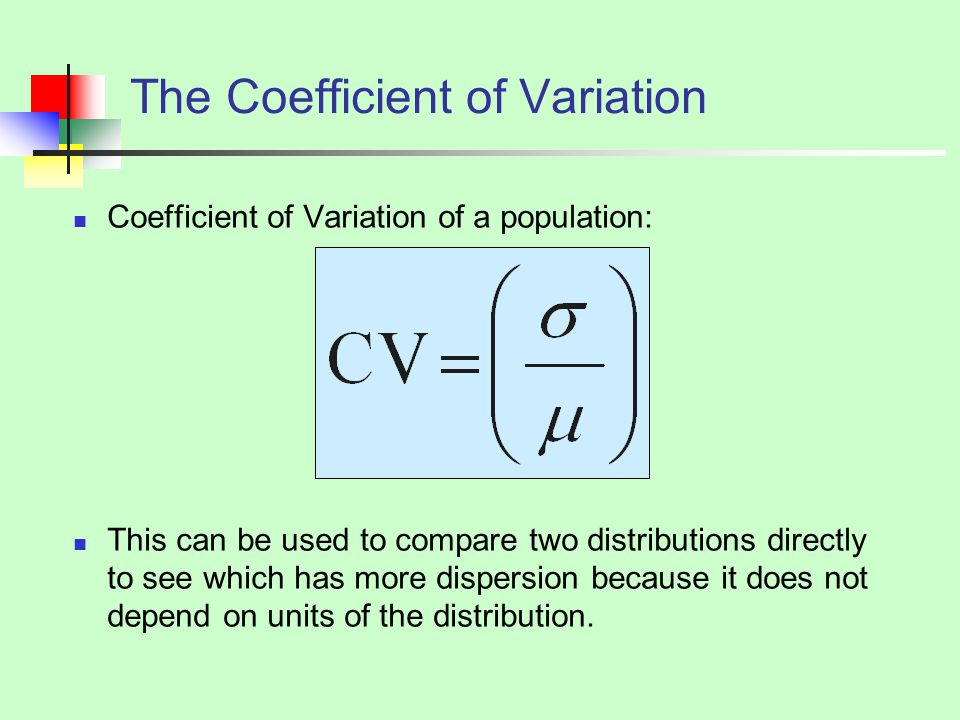 The Coefficient of Variation