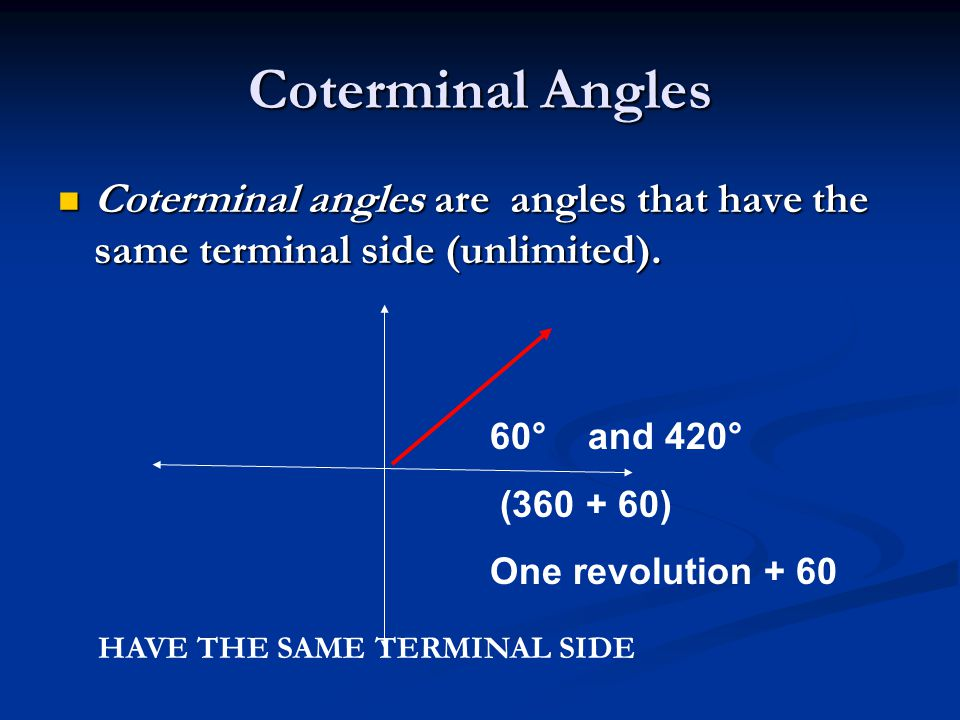 Sketching Angles And Coterminal Angles Ppt Video Online Download
