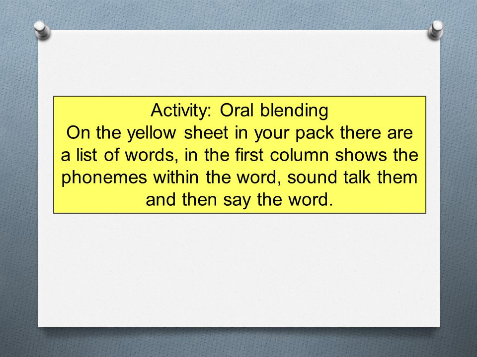Activity: Oral blending