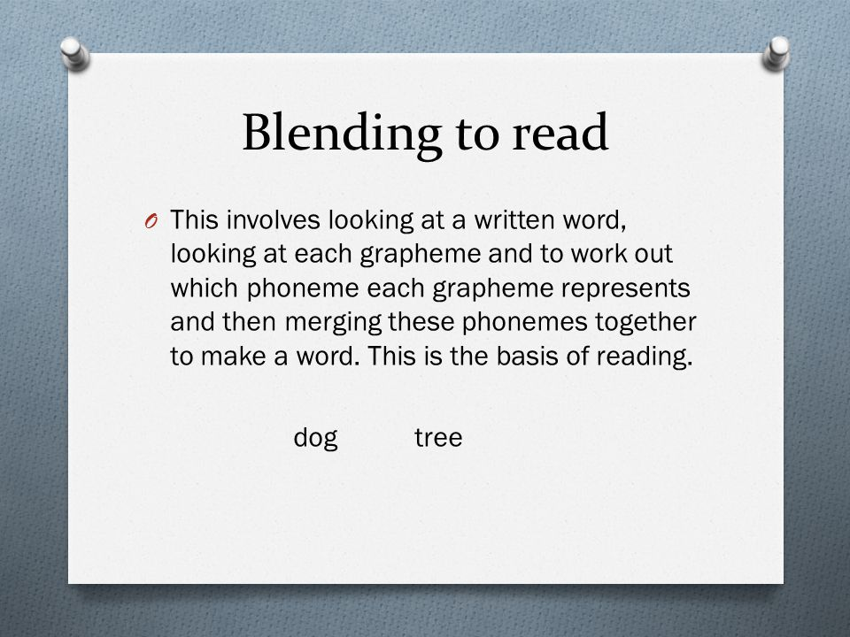 Blending to read