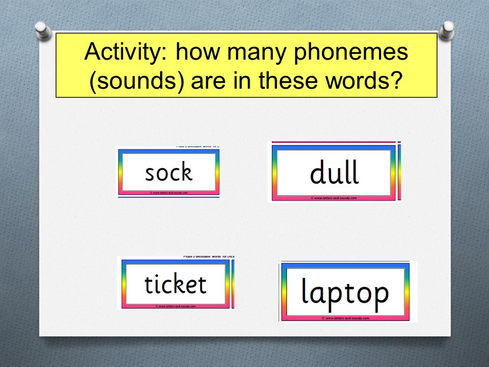 Activity: how many phonemes (sounds) are in these words