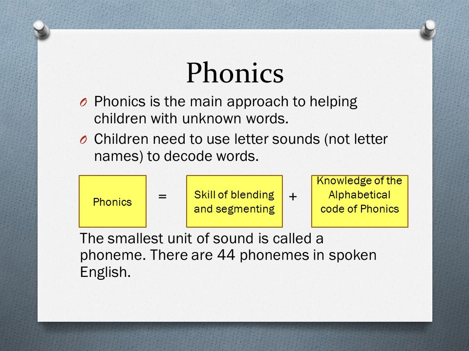 Phonics Phonics is the main approach to helping children with unknown words. Children need to use letter sounds (not letter names) to decode words.