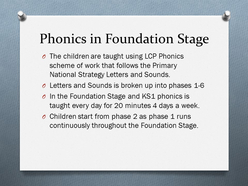 Phonics in Foundation Stage