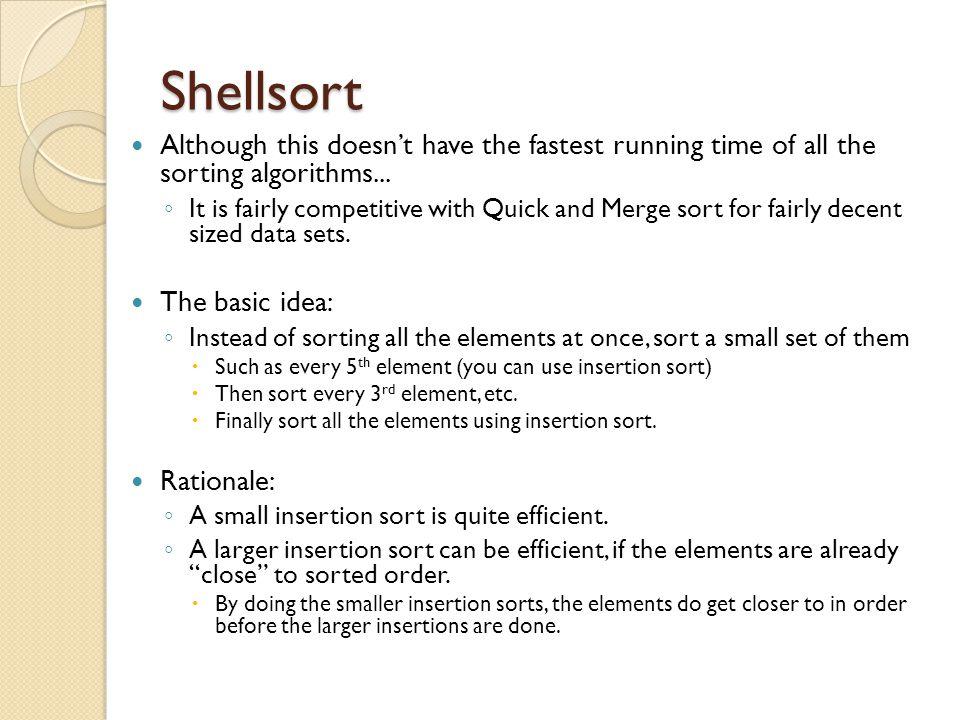 Shell sort algorithm example.