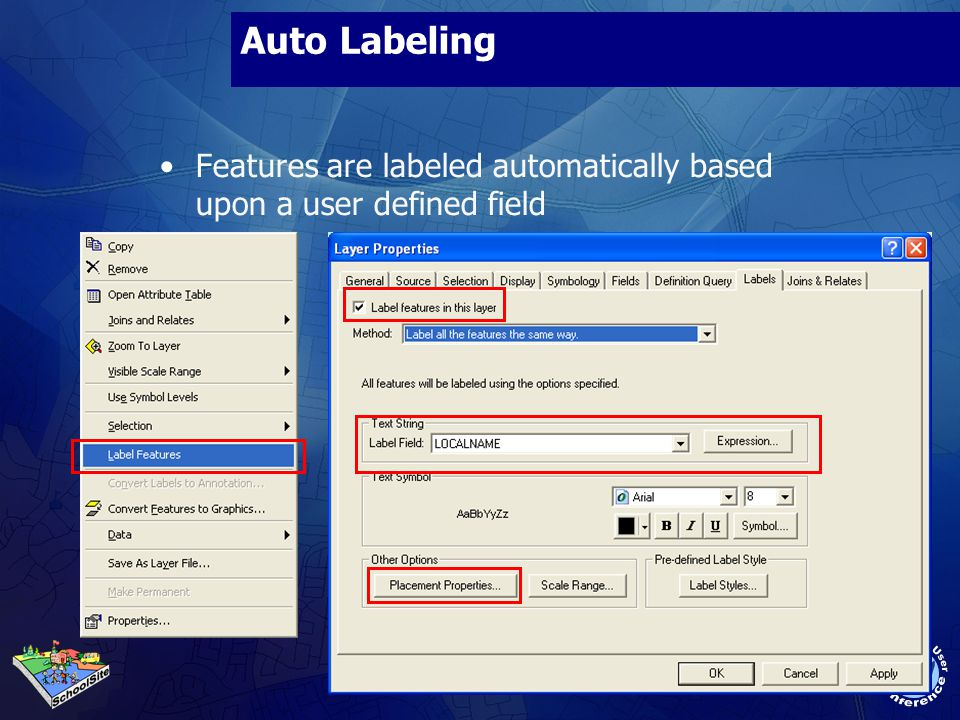 Auto Labeling Features are labeled automatically based upon a user defined field