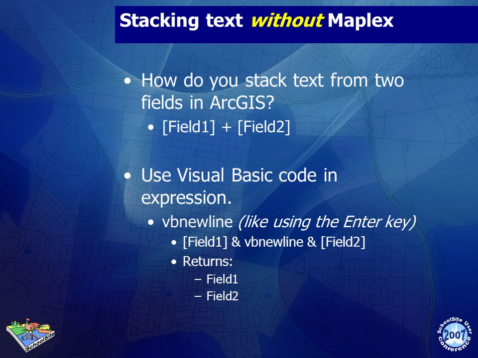 Stacking text without Maplex