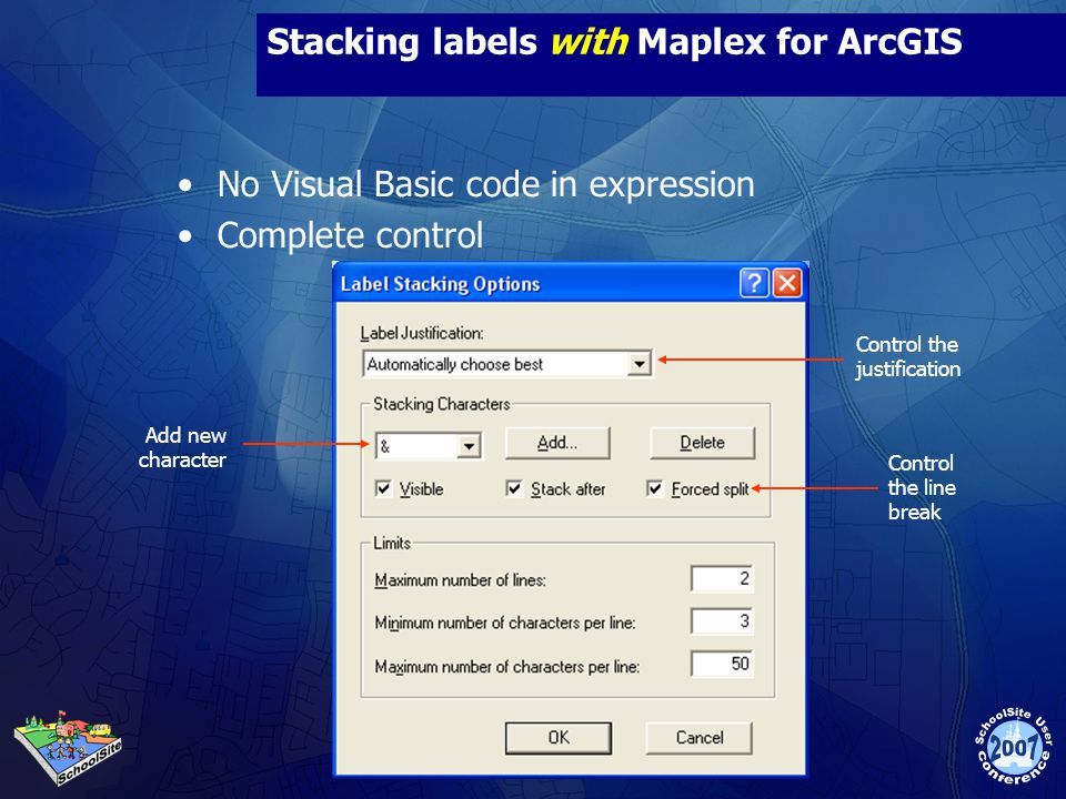Stacking labels with Maplex for ArcGIS