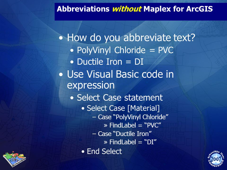 Abbreviations without Maplex for ArcGIS