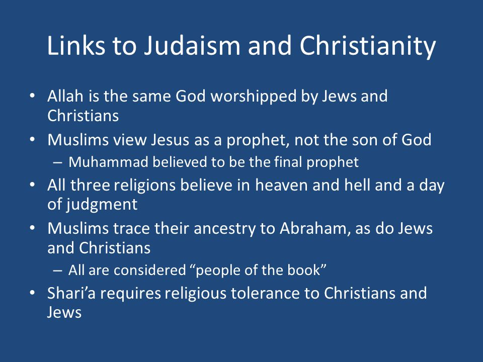 Links to Judaism and Christianity
