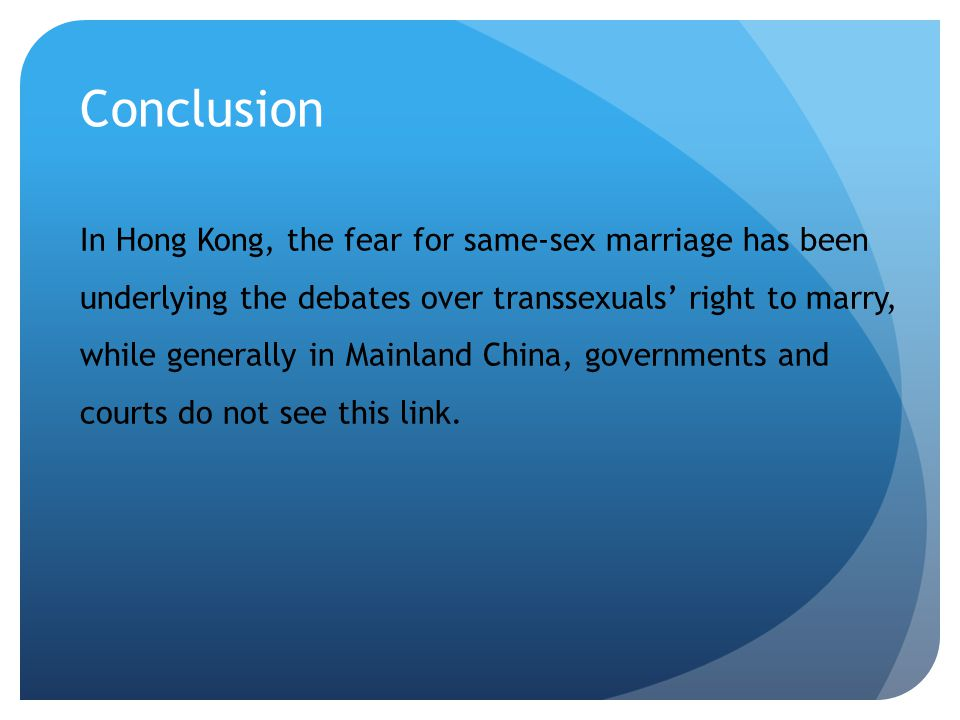 Conclusion of same sex marriages