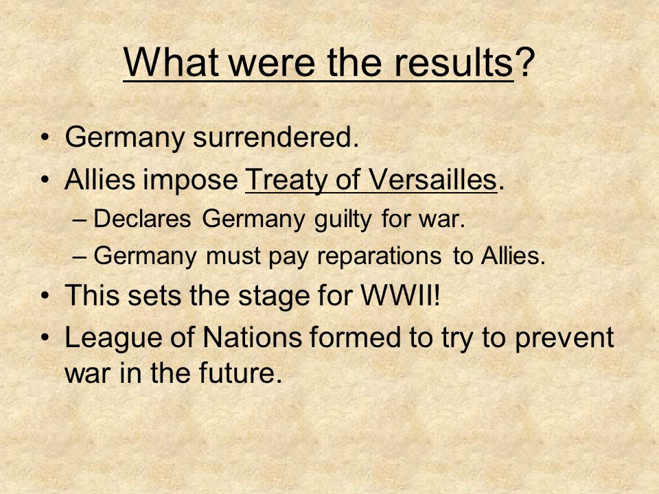 What were the results Germany surrendered.