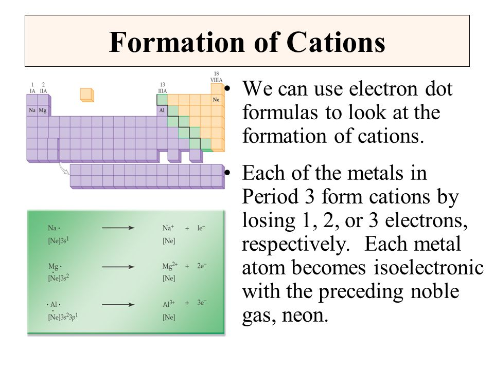 Formation of Cations We can use electron dot formulas to look at the formation of cations.