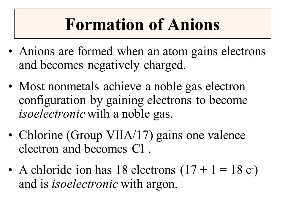 Formation of Anions Anions are formed when an atom gains electrons and becomes negatively charged.