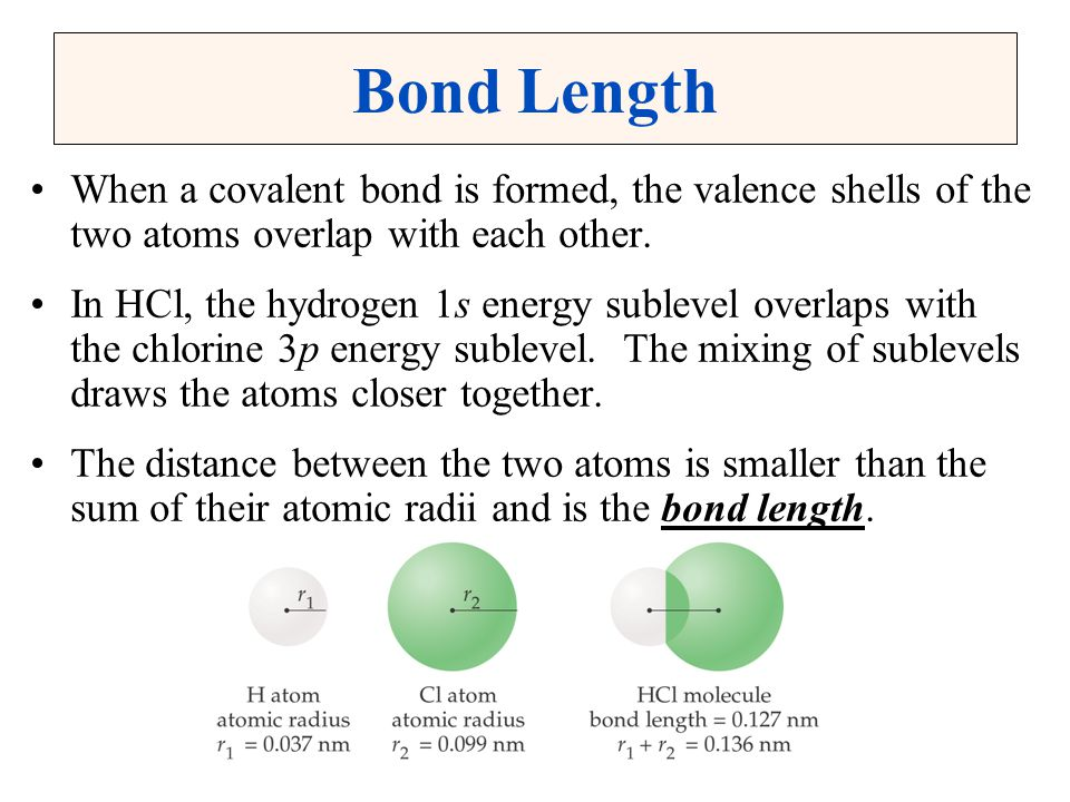 Bond Length When a covalent bond is formed, the valence shells of the two atoms overlap with each other.