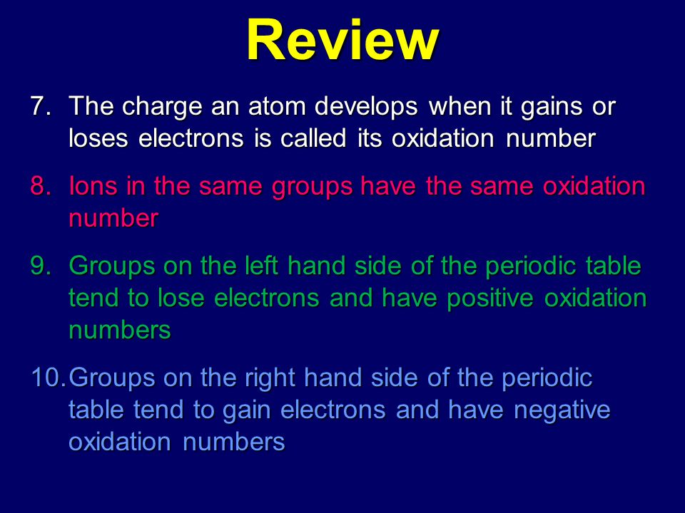 Review The charge an atom develops when it gains or loses electrons is called its oxidation number.