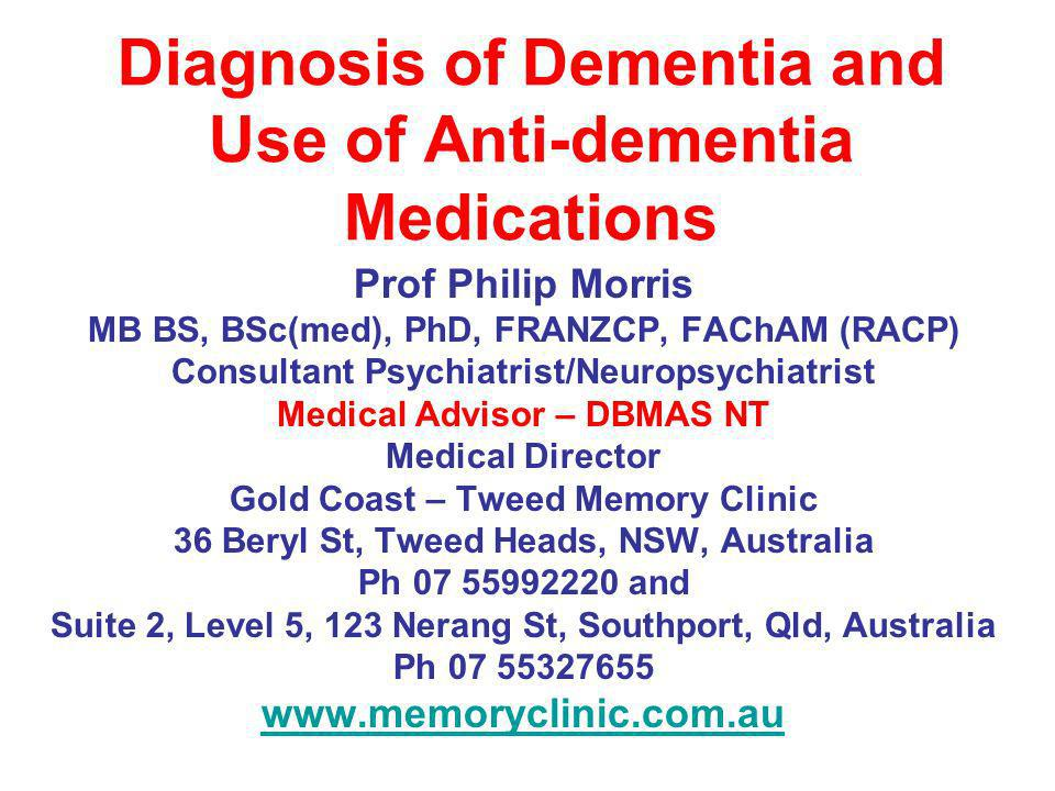 Diagnosis of Dementia and Use of Anti-dementia Medications