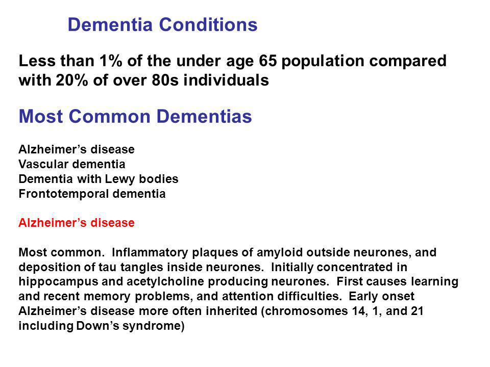 Dementia Conditions Most Common Dementias