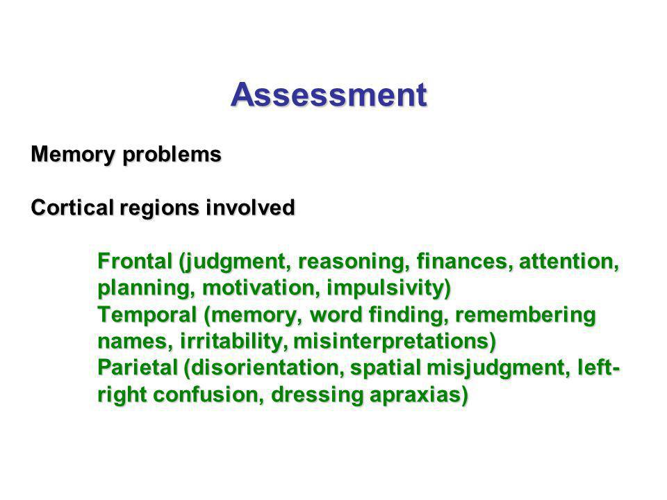 Assessment Memory problems Cortical regions involved