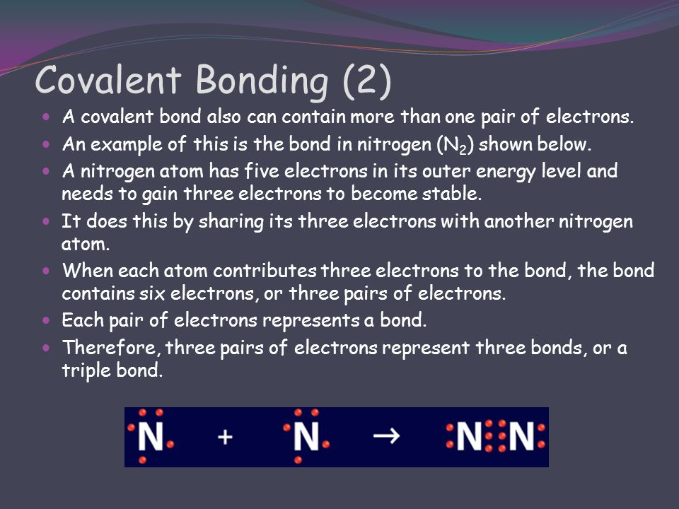 Covalent Bonding (2) A covalent bond also can contain more than one pair of electrons. An example of this is the bond in nitrogen (N2) shown below.