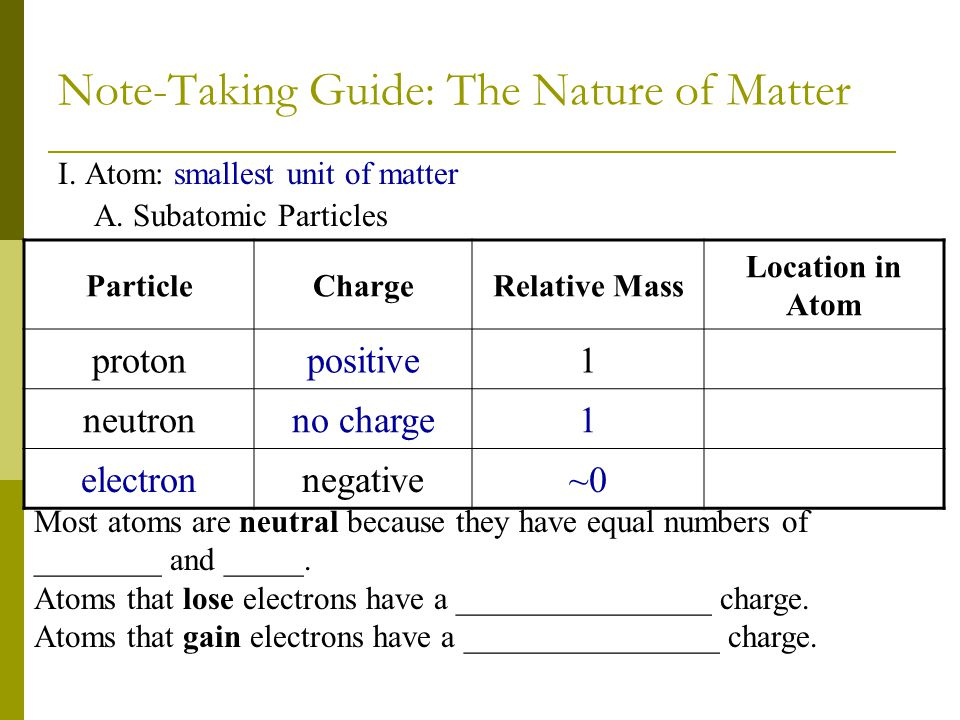 Note-Taking Guide: The Nature of Matter