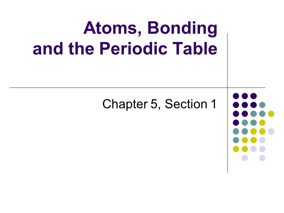 Atoms, Bonding and the Periodic Table