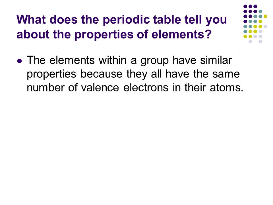 What does the periodic table tell you about the properties of elements