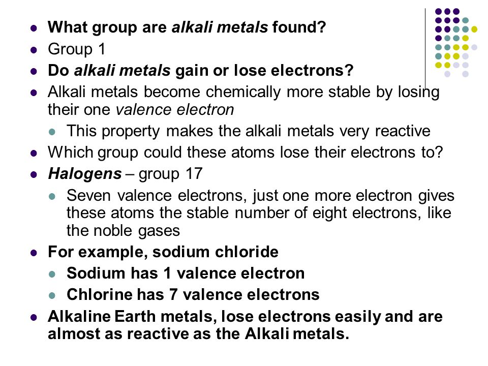 What group are alkali metals found