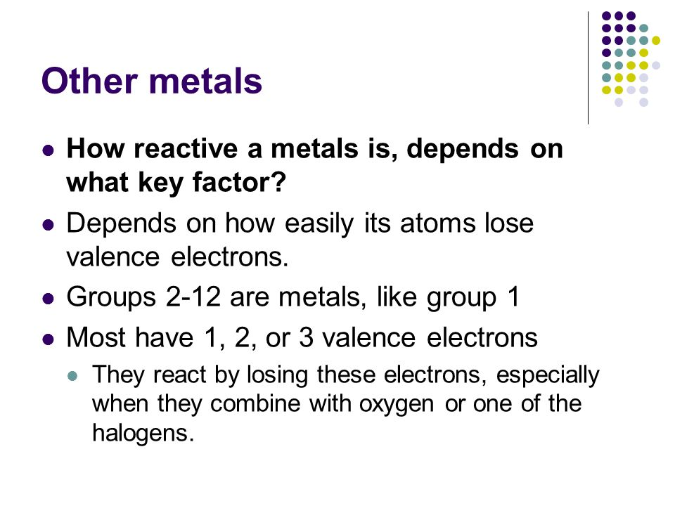 Other metals How reactive a metals is, depends on what key factor