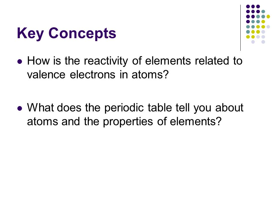Key Concepts How is the reactivity of elements related to valence electrons in atoms