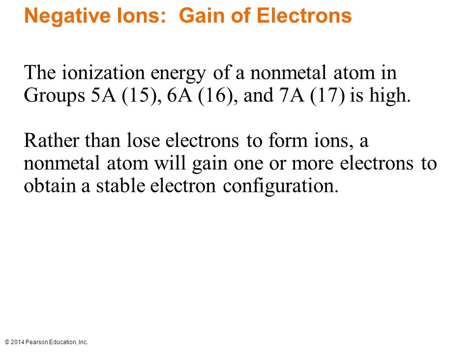 Negative Ions: Gain of Electrons