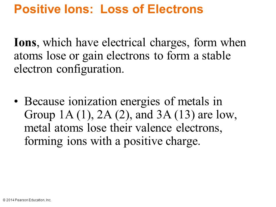 Positive Ions: Loss of Electrons