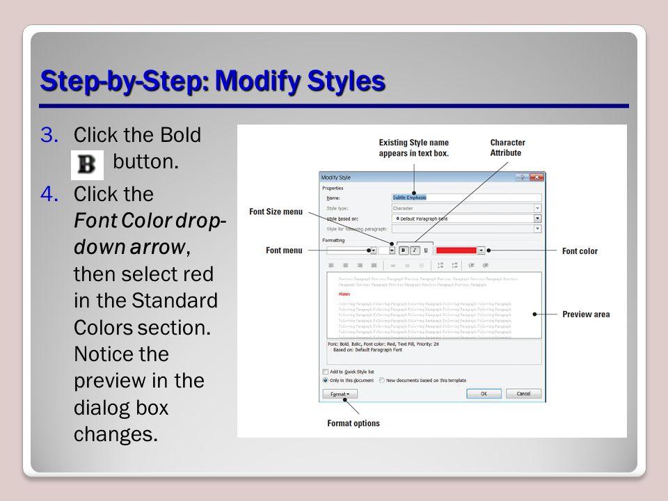 Step By Modify Styles