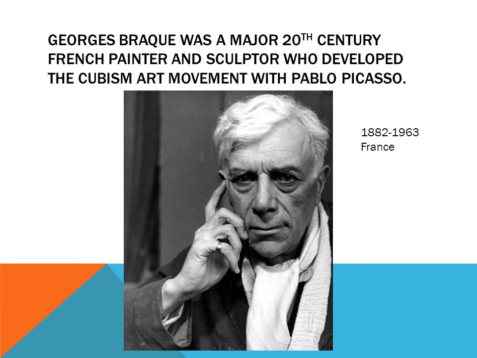 Georges braque was a major 20th century French painter and sculptor who developed the cubism art movement with pablo picasso.