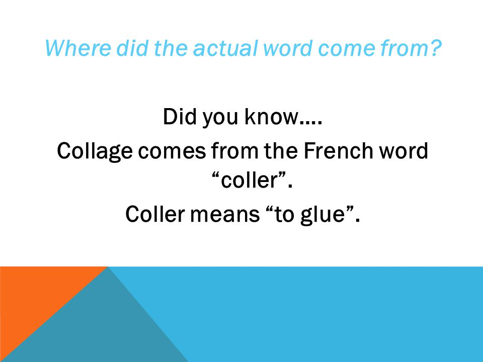Where did the actual word come from. Did you know…