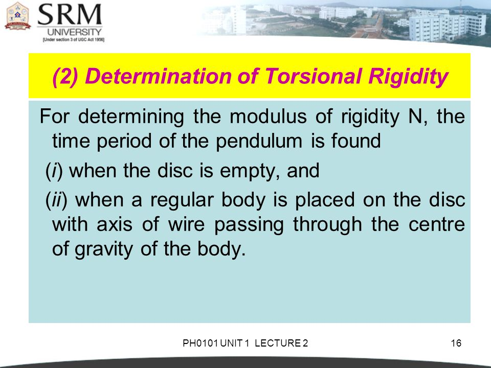 PH0101 UNIT 1 LECTURE 2 Shafts Torsion Pendulum-Theory and Uses ...