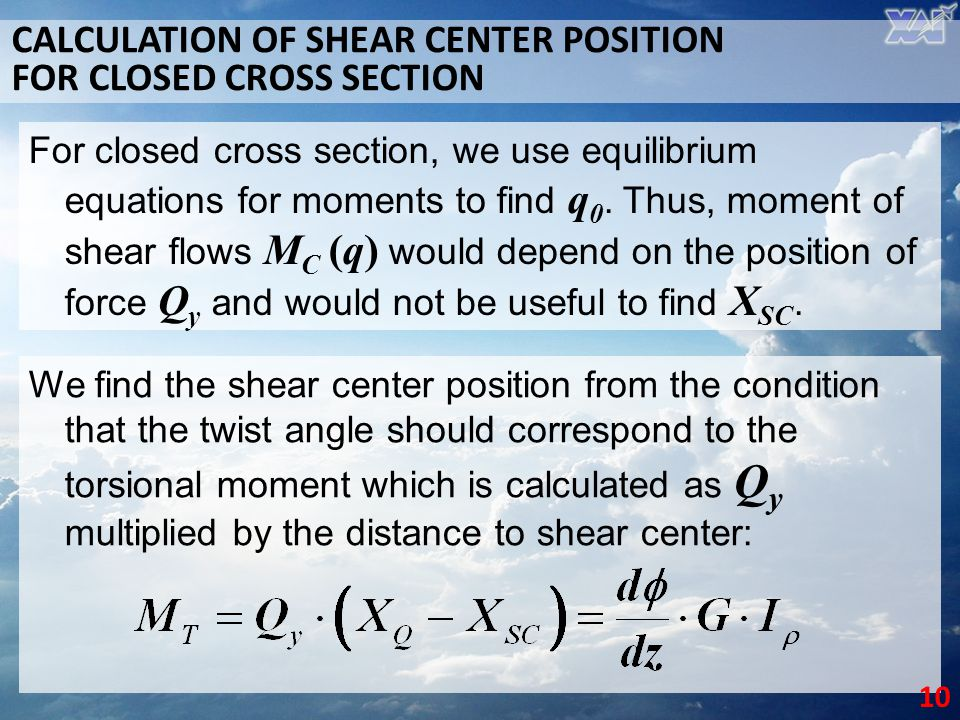 CALCULATION OF SHEAR CENTER POSITION FOR CLOSED CROSS SECTION