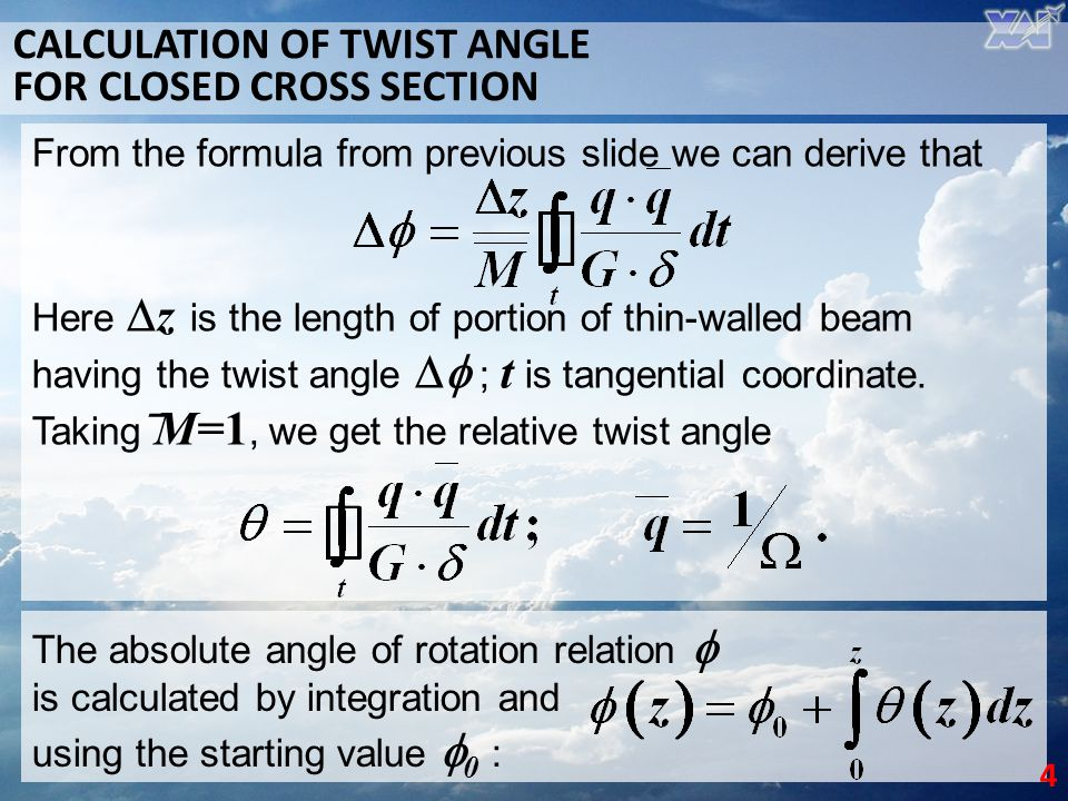 CALCULATION OF TWIST ANGLE FOR CLOSED CROSS SECTION
