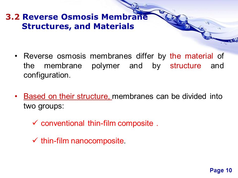 3.2 Reverse Osmosis Membrane Structures, and Materials