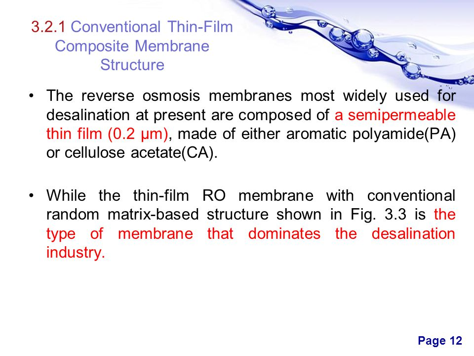 3.2.1 Conventional Thin-Film Composite Membrane Structure